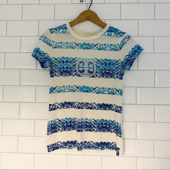 Tory Burch Cotton Logo T-Shirt XXS Blue Cream
